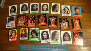 43 1970s STICKER CARDS from: SUPERMAN, CHARLIES ANGELS, MORK & MINDY, BATTLESTAR