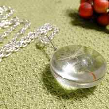 Crystal Ball Real Dandelion Seed Wishing Wish Necklace Long Silver Chain SMS