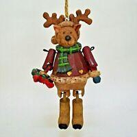 Woodlook Reindeer Christmas Ornament Jointed Rustic IOB