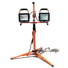 Twin LED Flood Work Light Telescoping Tripod Stand COB Dual Head 40W 3200 Lumen