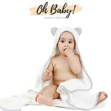 Baby Hooded Bath Towel and Washcloth Set - Extra Soft Grey Unisex - Baby Gift!