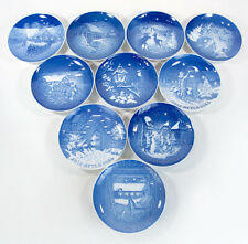 Set of 10 Copenhagen Wall Mounted Decorative Christmas Plates 1969 1975 1980's