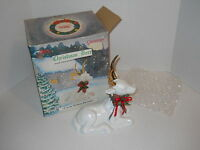 "10"" Aldon Accessories LTD Christmas Treasures Porcelain Christmas Deer 1998 +Bx"
