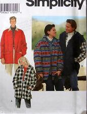 Unisex Mens Womens unlined fleece jacket pattern sz XS S M Vest coat