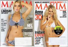 MAXIM Magazine Lot Of 2 from 2010-Lindsay Lohan, Anna Kournikova, Beer NM *BONUS