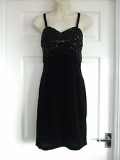 Womens Ladies Size 12 Black Dress Summer Party Cocktail Occasion Sexy Sleeveless