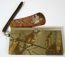 Womens Realtree AP Brown/Green Camo Fashion Wallet Clutch Purse Wrist Strap New