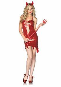 Sexy Halloween Adult Darling Demon Sequined Devil Girl Costume w Horns