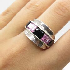925 Sterling Silver Real Pink Quartz Black Onyx Gemstone Ring Size 7