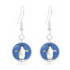 Penguin jewelry Photo Art Glass Cabochon 16mm Charm Earring Earring Hooks