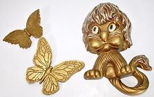 Vintage Homco Gold Lion Cat Wall Plaques Decor Syroco Butterflies 1976 Nursery
