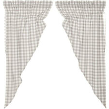 "Annie Buffalo Grey Check Prairie Curtains by VHC Brands - 63"" x 36"" Lined"