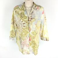 Chico's Size 1 Shirt Cotton Yellow Floral Paisley Button Lightweight Hi Lo Small