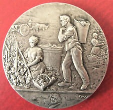 FRANCE-c.1900- THE GRAPE HARVEST - ART NOUVEAU  SILVER MEDAL by MAREY