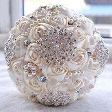 Romantic Wedding Rose Silk Flower Bridal Bouquet Pearls Rhinestone Handle White