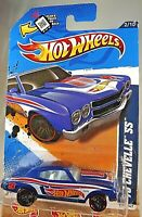2012 Hot Wheels #172 HW Racing 2/10 '70 CHEVELLE SS Blue Variation w/Black PR5sp