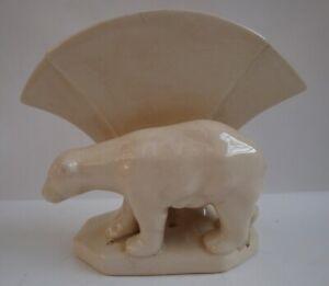 Vase Figurine Ours Animalier Style Art Deco Style Art Nouveau Craquele Ceramique