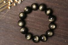 14mm Natural golden obsidian Round Beads Bracelet  Fashion Jewelry Gift HD18