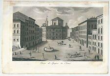 1833 PIAZZA DI SPAGNA IN ROMA acquatinta Gandini Francesco