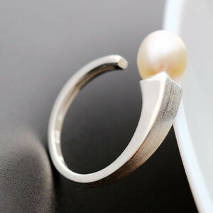 D10 Ring Angular With Freshwater Pearl White 925 Sterling Silver Brushed