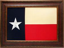 Large Texas Flag Framed Aged USA Real Cloth Rustic Western Cabin Lodge Decor