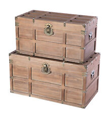 New Vintiquewise Wooden Rectangular Lined Rustic Storage Trunk with Latch