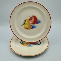"SET OF 2  HARKER POTTERY BAKERITE RED APPLE & PEAR 9 3/8"" LUNCH PLATE VINTAGE"