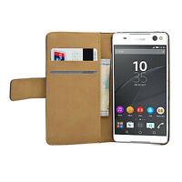 Wallet BLACK Leather Flip Case Cover Pouch For Sony Xperia C5 Ultra (+2 FILMS)