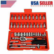 46pcs Spanner Socket Screwdriver 1/4 Car Repair Tool Ratchet Wrench Set Tool Kit