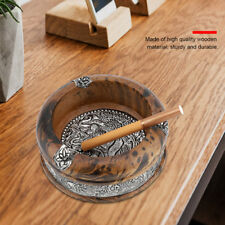 Portable Mini Wooden Art Tray Cigarette Cigar Ashtray Cinder Holder Travel 7CM