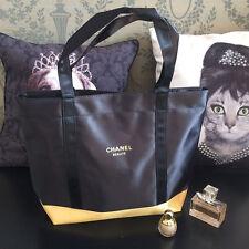 CHANEL Beauty Black Gold Satin Shoulder Bag, Travel Shopping Tote Bag