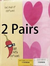 """SPECIAL OFFER >>>2 Pairs of Kids' Pink Hearts Curtains  66"""" x 54"""" 168 x 137cm"""