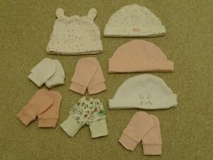 Baby Girl's Bundle Scratch Mitts and Hats from George at Asda/Primark One Size