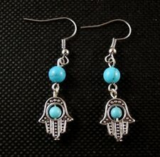 Natural Turquoise Gemstone Hamsa Hand Bohemian Fashion Dangle Earrings # B69