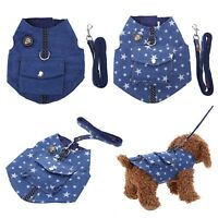 Pet Dog Cat Puppy Collars Denim Harness Vest Chest Strap Leash Traction Rope