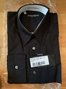 L RRP $300 US16 DOLCE /& GABBANA STAFF Shirt Black 100/% Cotton MARTINI s 41