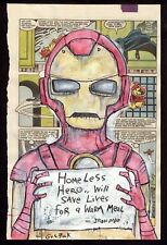 GUS FINK art ORIGINAL painting antique outsider lowbrow book page comic IRONMAN