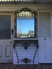 French Vintage Wall Mounted Console Table & Mirror Marble Top