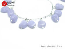 Trendy 8mm Natural Blue Lace Agate Pendant Bracelet for Women 7.5-8.8'' Jewelry