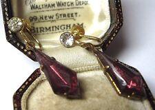 VINTAGE Old Antique ART DECO Geometrical Amethyst Glass Crystal Drop Earrings