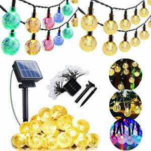 50 100 200 LED Solar Power Bulb String Fairy Lights Garden Outdoor Party Lights