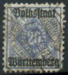 Wurttemberg 1919 SG#M228, 20pf Deep Blue Optd Used #E8545