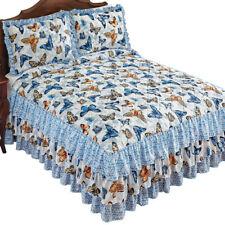 Beautiful Butterflies Ruffled Quilt-top Bedspread