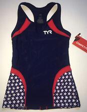TYR Women's Medium Red White Blue Tank Triathlon Team USA Model COMPETITOR New