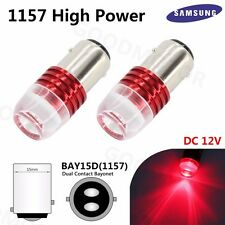 2X Red 1157 BAY15D High Power 1 COB Samsung LED Bulbs Backup Brake Strobe Lights