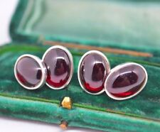 Sterling Silver chain cufflinks with a Rare Garnet cabochon insert