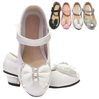 GIRLS CHILDREN KIDS WEDDING BRIDESMAID PARTY LOW HEELS SHOES SIZE 7-3