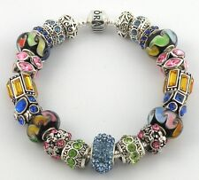 Authentic PANDORA Bracelet with BLACK & RAINBOW European Charms & Murano Beads