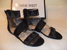 NINE WEST Devar Black Suede Leather Gladiator Strappy Sandal Zip Size 9 NIB $80