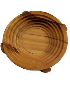 Vintage Folding Spiral Collapsible Wooden Basket Trivet Bowl Handmade